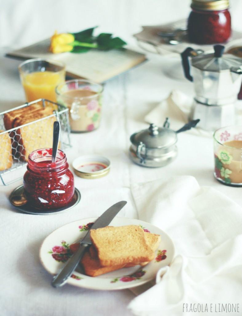breakfast with homemade raspberry jam
