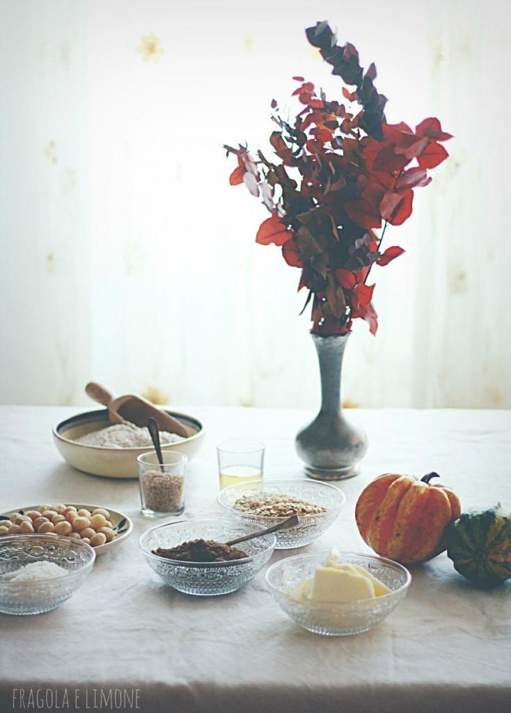 ingredienti biscotti macadamia, sesamo e avena