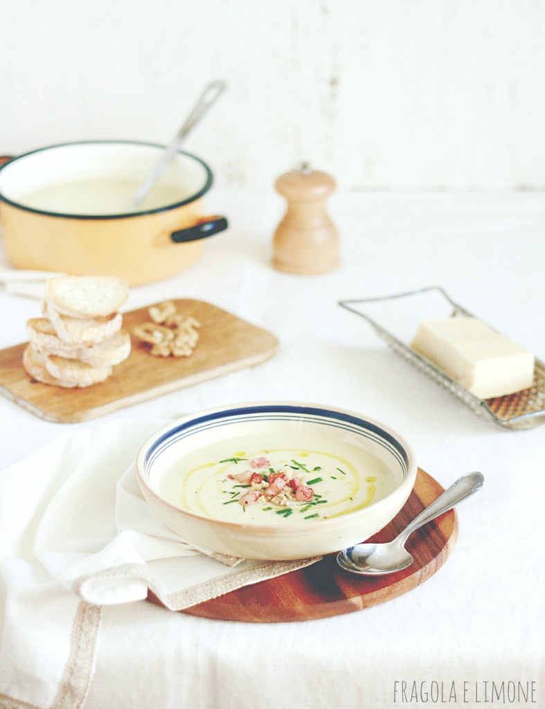 zuppa con sedano rapa e pancetta croccante